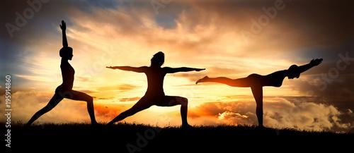 Fototapeta yoga, virabhadrasana positions 1, 2, 3