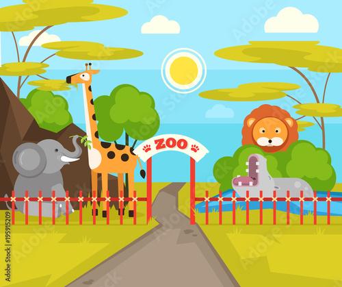 Fotobehang Zoo Zoo park with wild animals. Vector flat cartoon illustration