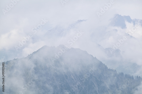 dense fog in mountains after rain - 195923683