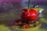 Delicious cherry with water drops