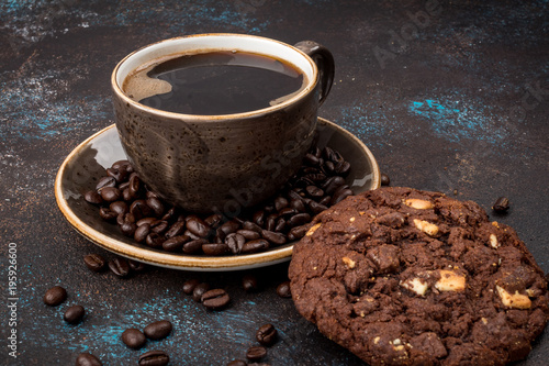 Cup of coffee and chocolate chip cookies