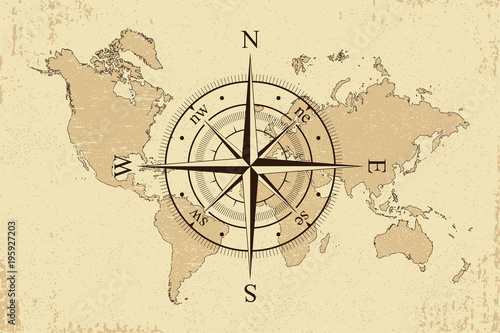Fototapeta Vintage world map with retro compass. Background old paper map and wind rose. Vector illustration.