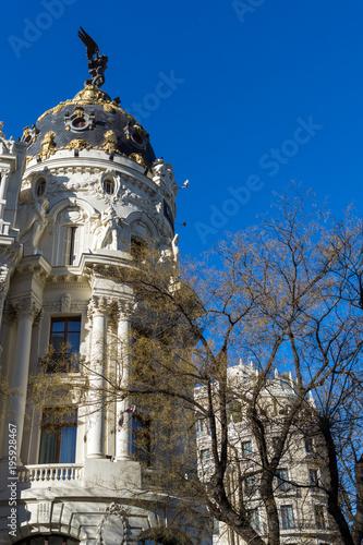 Metropolis Building ( Edificio Metropolis ) at Alcala and Gran Via streets in City of Madrid, Spain