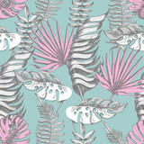 Delicate pink and blue seamless pattern with graphic tropical flowers. © YuliMuli