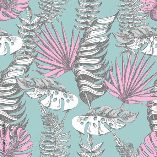 Delicate pink and blue seamless pattern with graphic tropical flowers. © Yumeee