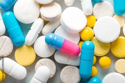 Foto op Plexiglas Apotheek Pharmacy theme, medicine tablets.