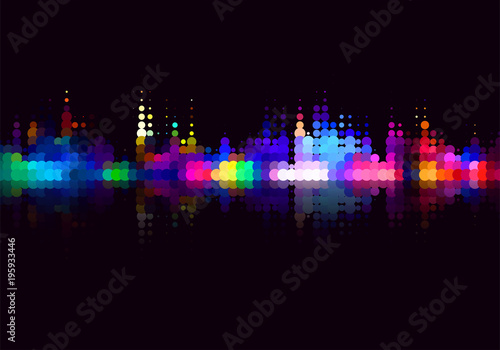 Vector colorful halftone dots background. Flat, decorative design of cityscape view at night. - 195933446