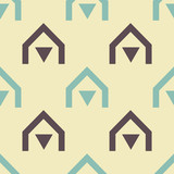 Native village seamless pattern. Strict line geometric pattern for your design. - 195934881