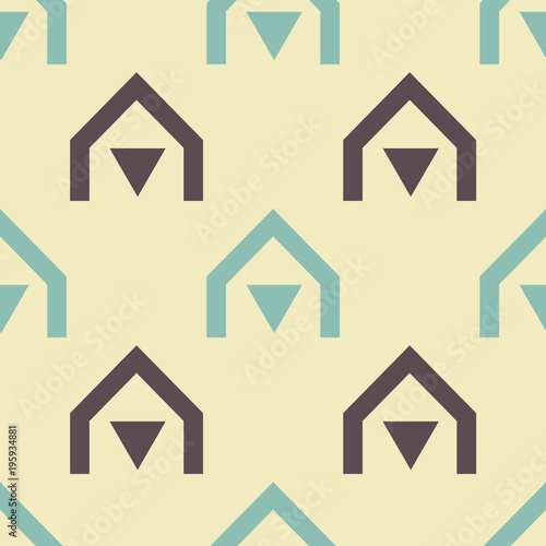Tuinposter Beige Native village seamless pattern. Strict line geometric pattern for your design.