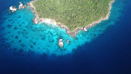 Tropical island in sea. Similan Islands, Thailand. Aerial photo