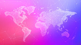 Polygon world map with blockchain peer to peer network on blurred gradient multicolored background. Network, p2p business, bitcoin trading and global cryptocurrency blockchain business banner concept.