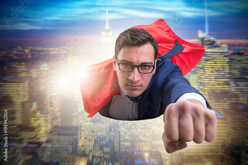 Flying super hero over the city