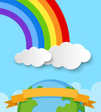 Banner template with earth and rainbow in sky - 195943268