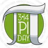 Pi Day Commemoration with Round Button and Silver Symbol, Vector Illustration - 195944245