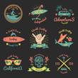 Set of Color Vintage Emblem For Surfer club