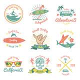 Set of Color Vintage Emblem For Surfer club - 195946294