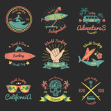 Set of Color Vintage Emblem For Surfer club - 195946299