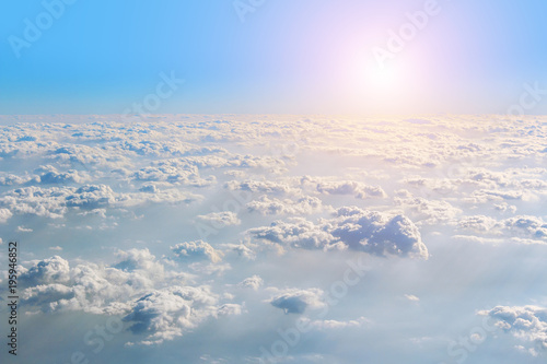 View from the window plane on amazing sky with scenic clouds at the sunset. - 195946852