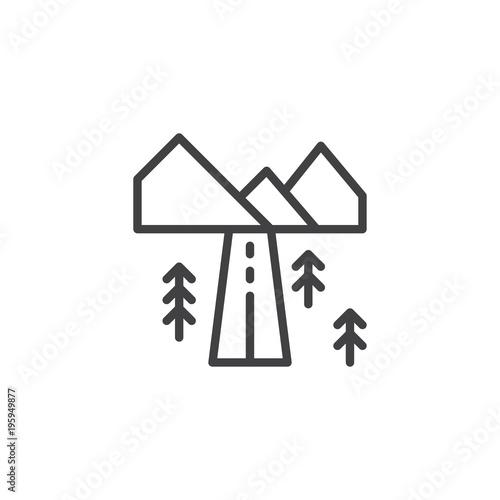 Deurstickers Wit Landscape with highway outline icon. linear style sign for mobile concept and web design. Country road with mountains and forest trees simple line vector icon. Symbol, logo illustration