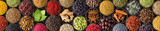 Colored spice background, top view. Collection Indian seasoning in cups - 195950435