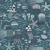 Baby seamless pattern - ocean life, underwater monsters. Trendy kids vector background. Doodle style.