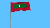 Flag of Maldives on the flagpole fluttering in the wind on a pure blue background, 3d rendering - 195952200