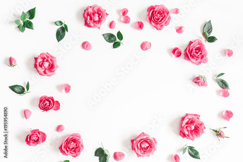 Flowers composition. Frame made of pink rose flowers on white background. Flat lay, top view, copy space - 195954890
