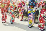 Japan Women wear Kimomo Colourful fabric Tradition custom fashion culture