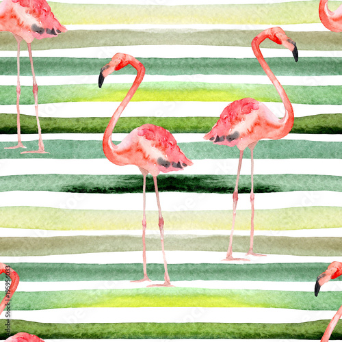Watercolor Stripes Seamless Pattern with Flamingo. - 195956033