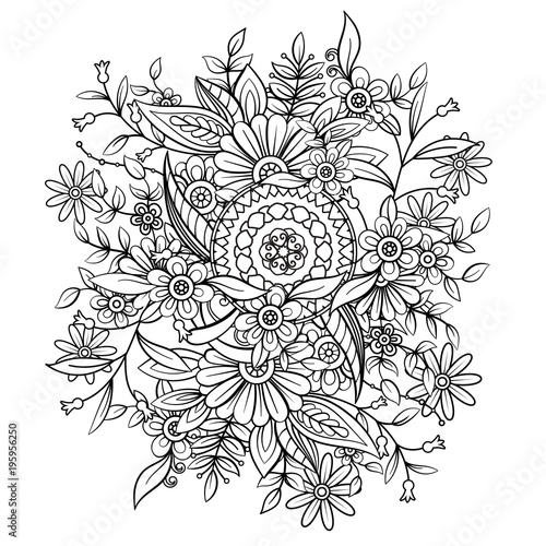 Floral pattern in black and white. Adult coloring book page with flowers and mandala. Art therapy, anti stress coloring page. Hand drawn vector illustration