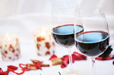 two glasses of red wine at restaurant - 195957025