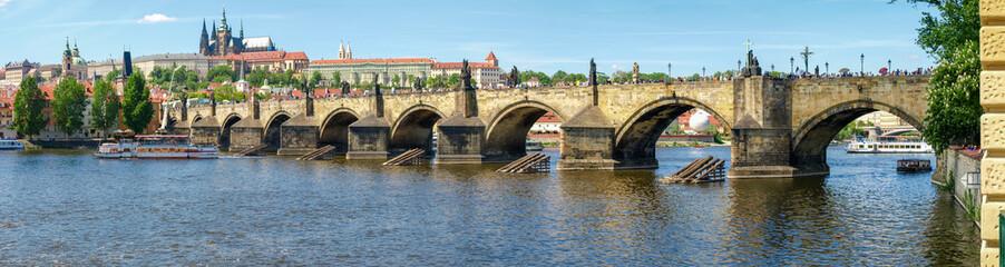 Panorama of Charles Bridge against of the Lesser Town, Prague