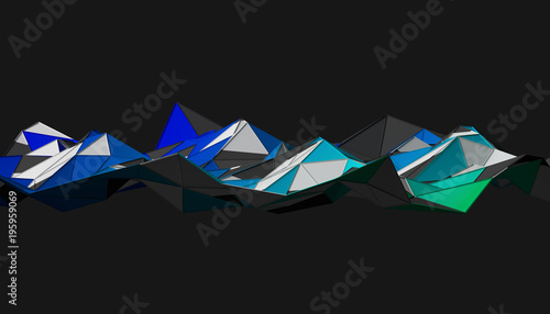 Abstract 3d rendering of triangulated surface. Modern background. Futuristic polygonal shape. Low poly minimalistic design for poster, cover, branding, banner, placard. - 195959069