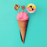 Candy Lolipop Ice Cream. Sweet Fashion art. Flatlay Design - 195959882