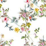 Watercolor painting of leaf and flowers, seamless pattern on white background - 195960607