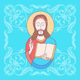 Christ is risen!  Easter vector illustration. Jesus Christ. - 195960850