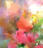 Abstract colorful flowers watercolor painting. Spring multicolored in .nature. - 195960877