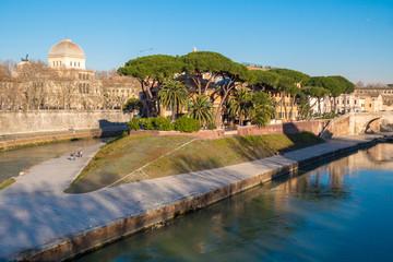 Tiberina Island (Isola Tiberina) on the river Tiber in Rome, Italy