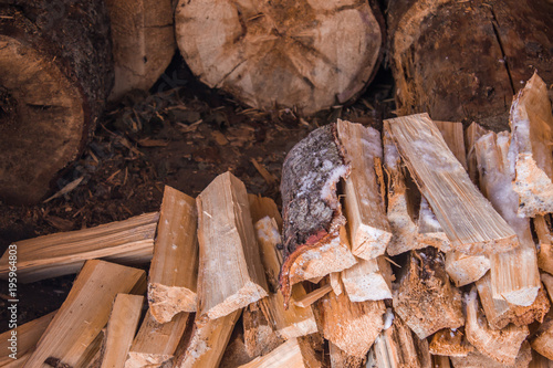 Keuken foto achterwand Brandhout textuur Firewood harvested for the winter