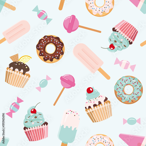 fototapeta na ścianę Birthday seamless pattern with sweets. Girly. For print and web.