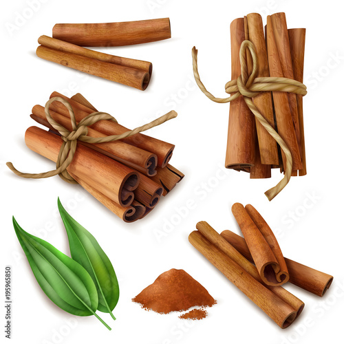 Realistic Cinnamon Sticks Set