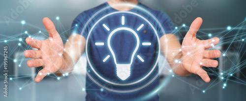 Foto op Plexiglas Hoogte schaal Businessman using lightbulb idea interface 3D rendering