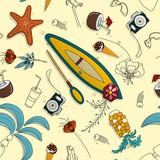Seamless pattern with hand-drawn objects on the theme of the sea and vacation. Vector illustration - 195968418
