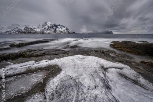 Foto op Plexiglas Donkergrijs Vikten, Lofoten, Norway