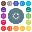 Brightness control flat white icons on round color backgrounds