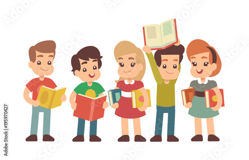 Cartoon preschool children with books. Learning and stadying vector concept