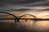 Panorama photo view at sunrise of the city bridge and the river - 195972854