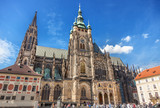 View to the St. Vitus cathedral, Prague - 195973254