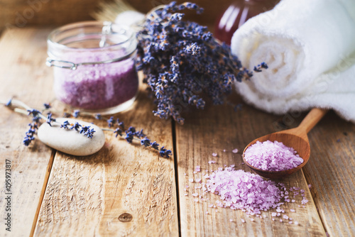 Fototapeta Lavander salt with natural spa products and decor for bath