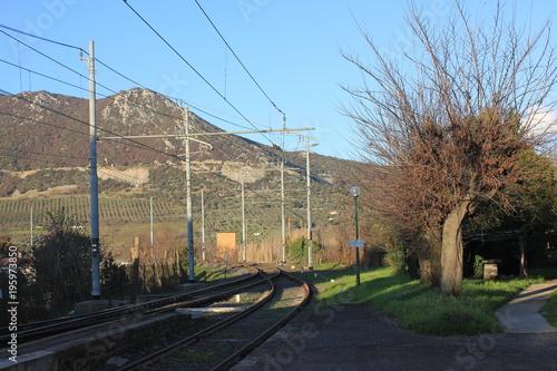 Foto op Canvas Spoorlijn panorama con ferrovia